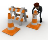 3d man with traffic cones and hurdle concept Royalty Free Stock Images