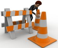 3d man with traffic cones and hurdle concept Royalty Free Stock Photography