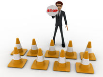 3d man with traffic cones and stop sign concept Royalty Free Stock Images