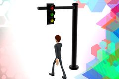 3d character walking near by a  traffic light illustration Stock Photography