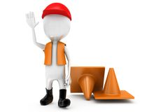 3d man traffic officer concept Stock Images