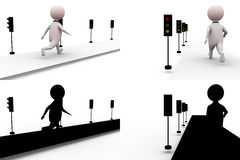 3d man traffic signal concept collections with alpha and shadow channel Stock Photography