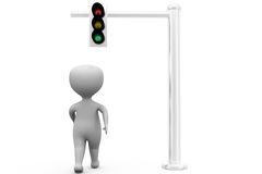 3d man traffic signal concept Royalty Free Stock Images