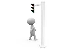 3d man traffic signal concept Royalty Free Stock Photography