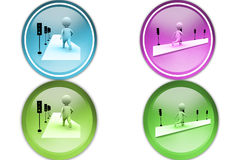 3d man traffic signal icon Royalty Free Stock Photos