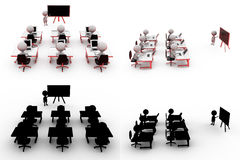 3d man training concept collections with alpha and shadow channel Stock Image