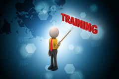 3d man with training text Stock Images