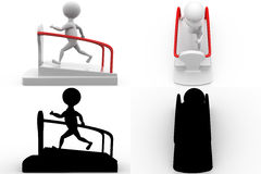 3d man on treadmill concept collections with alpha and shadow channel Royalty Free Stock Photos