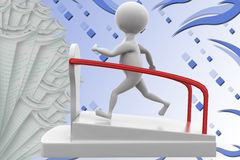 3d man on treadmill  illustration Stock Photography