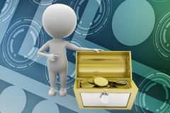3d man treasure illustration Stock Images