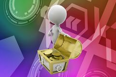 3d man treasure illustration Royalty Free Stock Images