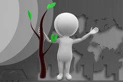 3d man tree illustration Royalty Free Stock Images
