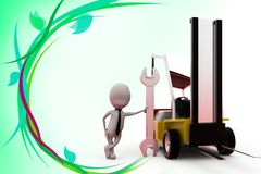 3d man with truck and tool illustration Royalty Free Stock Photos