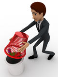 3d man try to catch bugs using dustbin basket concept Stock Photos