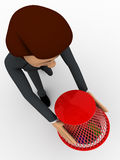 3d man try to catch bugs using dustbin basket concept Stock Photo