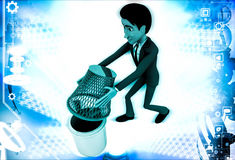 3d man try to catch bugs using dustbin basket illustration Royalty Free Stock Photography