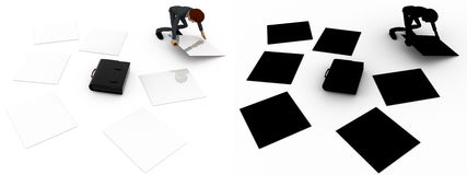3d man try to collect scttered work paper concept collections with alpha and shadow channel Royalty Free Stock Images