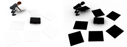 3d man try to collect scttered work paper concept collections with alpha and shadow channel Stock Photos