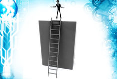3d man try to step down ladder illustration Stock Photo