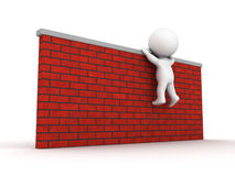 3D Man trying to climb wall. A 3D guy trying to climb a brick wall Royalty Free Stock Photos