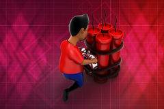 3d man trying to defuse bomb illustration Royalty Free Stock Photography