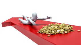 3d man trying to grab the pile of gold.  Royalty Free Stock Images