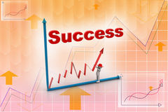 3d man trying to make graph in success. In attractive color background Royalty Free Stock Photography