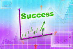 3d man trying to make graph in success. In attractive color background Royalty Free Stock Photo