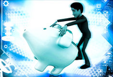 3d man trying to open piggybank illustration Royalty Free Stock Photo