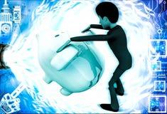 3d man trying to open piggybank illustration Stock Photos