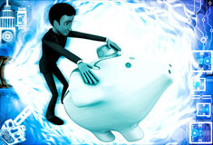 3d man trying to open piggybank illustration Royalty Free Stock Images