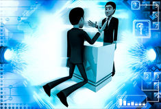 3d man trying to prove strenght through armfight illustration Royalty Free Stock Photos