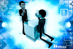 3d man trying to prove strenght through armfight illustration Stock Photo