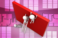 3D man trying to reach top of wall illustration Stock Photo