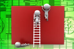 3D man trying to reach top of wall illustration Stock Image