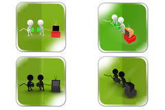 3d Man tv plug concept icon Royalty Free Stock Image