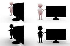 3d man tv screen concept collections with alpha and shadow channel Royalty Free Stock Image