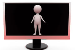 3d man from tv screen concept Royalty Free Stock Images