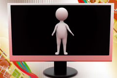 3d man from tv screen  illustration Royalty Free Stock Images
