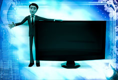 3d man with tv screen illustration Royalty Free Stock Photography