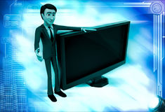 3d man with tv screen illustration Royalty Free Stock Images