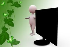 3d man tv screen  illustration Royalty Free Stock Photos