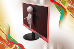 3d man from tv screen  illustration Royalty Free Stock Photos
