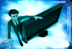3d man with tv screen illustration Stock Photos