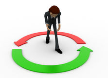 3d man with two green and red round arrow concept Royalty Free Stock Image