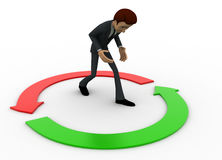 3d man with two green and red round arrow concept Stock Images