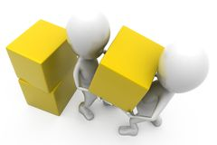 3d man two man cube concept Stock Photo
