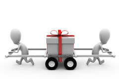 3d man two man wtih gift car concept Royalty Free Stock Images