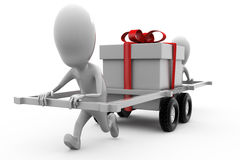 3d man two man wtih gift car concept Royalty Free Stock Image