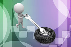 3d man tyres illustration Royalty Free Stock Photography